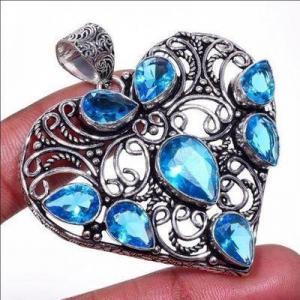 Am 3432b pendentif coeur pendants 60mm 8xaigue marine 17gr bleue bijou porte bonheur 1900 vente argent 925