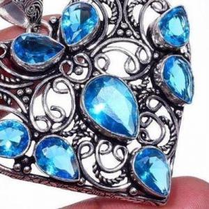 Am 3432c pendentif coeur pendants 60mm 8xaigue marine 17gr bleue bijou porte bonheur 1900 vente argent 925