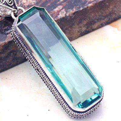 Am 3434c pendentif pendants 60mm aigue marine 24gr bleue 18x50mm bijou 1900 vente argent 925