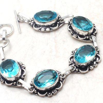 Am 3439c bracelet 50mm aigue marine 19gr bleue 10x15mm bijou 1900 vente argent 925