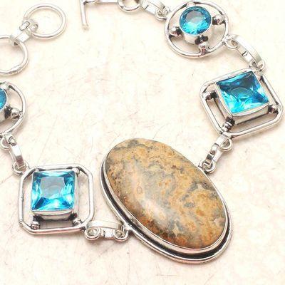 Am 3440b bracelet 50mm aigue marine 24gr jaspe 20x35mm bijou 1900 vente argent 925