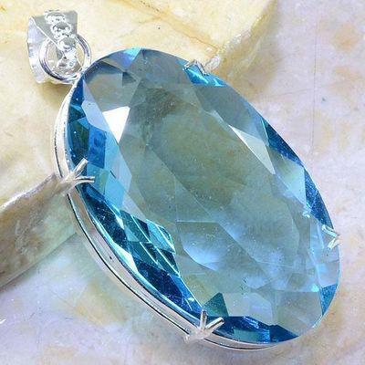 Am 3442a pendant pendentif aigue marine bleu 30x50mm lithotherapie bijou argent 925