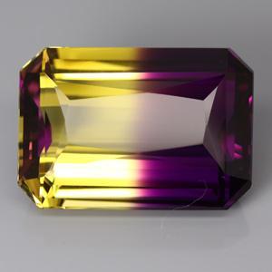 AM-15419 - Superbe AMETRINE de BOLIVIE bicolore taille émeraude  - 26,3 x 18,4 x 11,2mm - 43,9carats - 8,78 gr