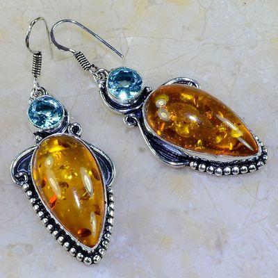 Amb 004a boucles pendants oreilles ambre amber topaze achat vente bijoux argent 925
