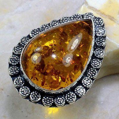 Amb 010a bague t63 cabochon ambre amber baltique baltic achat vente bijoux argent 925