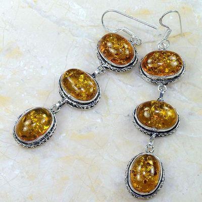 Amb 013b boucles pendants oreilles ambre amber baltique achat vente bijoux argent 925