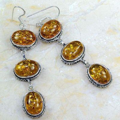 Amb 020a boucles pendants oreilles ambre amber baltique achat vente bijoux argent 925