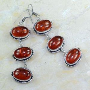 Amb 021a boucles pendants oreilles ambre rouge amber baltique achat vente bijoux argent 925