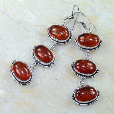 Amb 021b boucles pendants oreilles ambre rouge amber baltique achat vente bijoux argent 925
