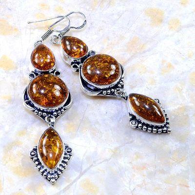 Amb 023a boucles pendants oreilles ambre amber baltique achat vente bijoux argent 925