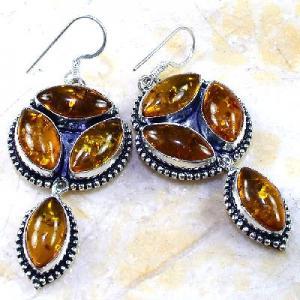 Amb 025b boucles pendants oreilles ambre amber baltique achat vente bijoux argent 925