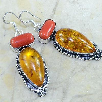 Amb 029a boucles pendants oreilles ambre corail amber baltique achat vente bijoux argent 925