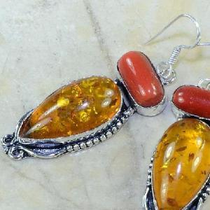 Amb 029c boucles pendants oreilles ambre corail amber baltique achat vente bijoux argent 925
