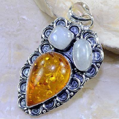 Amb 033a pendant pendentif ambre pierre de lune amber baltique achat vente bijoux argent 925