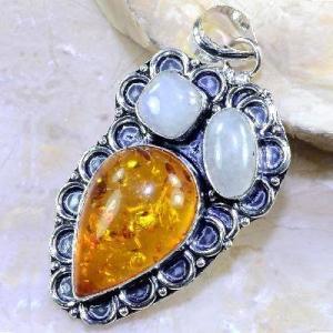 Amb 033a pendant pendentif ambre pierre de lune amber baltique achat vente bijoux argent 926