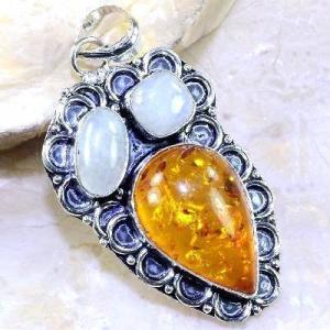 Amb 033b pendant pendentif ambre pierre de lune amber baltique achat vente bijoux argent 926