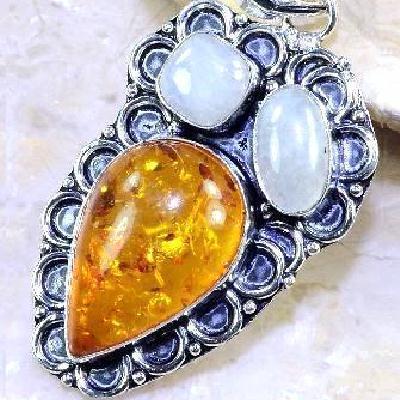 Amb 033c pendant pendentif ambre pierre de lune amber baltique achat vente bijoux argent 925