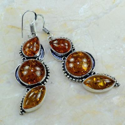 Amb 035a boucles pendants oreilles ambre amber baltique achat vente bijoux argent 925