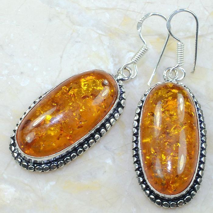 Amb 039b boucles pendants oreilles ambre amber baltique achat vente bijoux argent 925