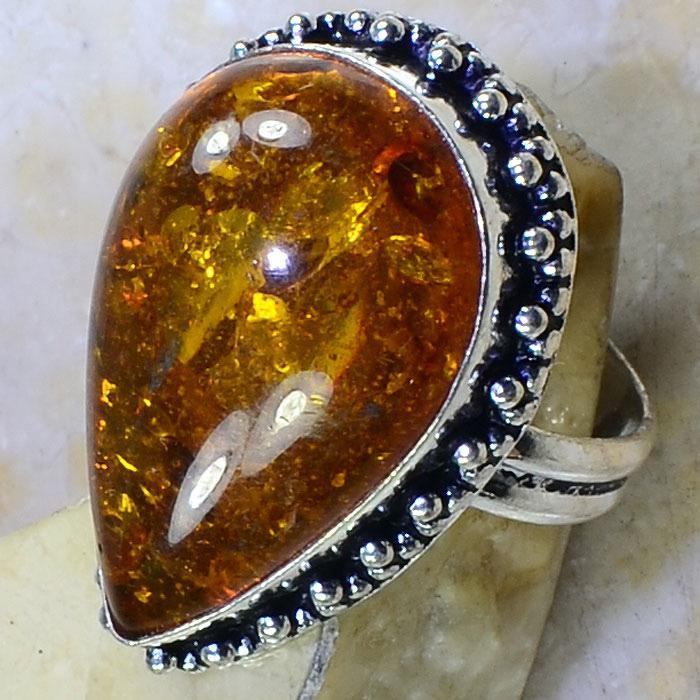 Amb 043c bague t61 cabochon ambre amber baltique baltic achat vente bijoux argent 925