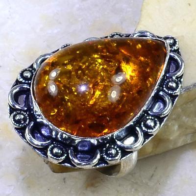 Amb 048a bague t60 cabochon ambre amber baltique baltic achat vente bijoux argent 925