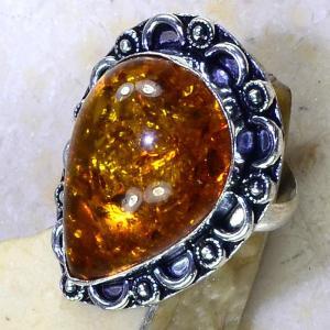 Amb 048b bague t60 cabochon ambre amber baltique baltic achat vente bijoux argent 925