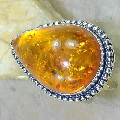 Amb 056a bague t61 cabochon ambre amber topaze achat vente bijoux argent 925