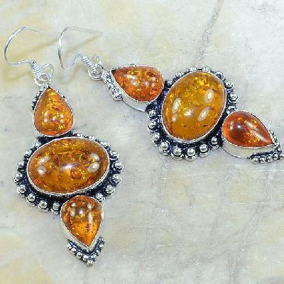 Amb 057a boucles pendants oreilles ambre amber baltique achat vente bijoux argent 925
