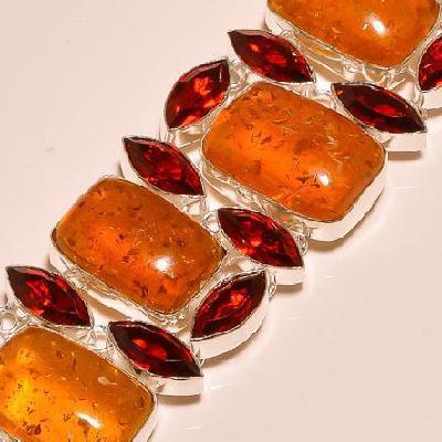 Amb 059e bracelet ambre amber baltique grenat baltic citrine madereachat vente bijoux argent 925