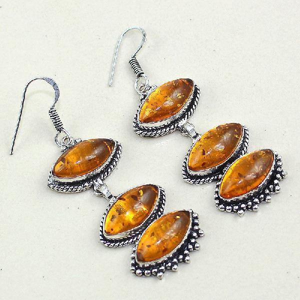 Amb 061a boucles pendants oreilles ambre amber baltique achat vente bijoux argent 925