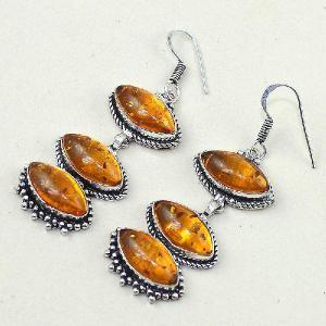 Amb 061c boucles pendants oreilles ambre amber baltique achat vente bijoux argent 925