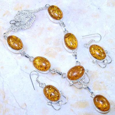 Amb 072a collier boucles parure ambre amber baltique baltic achat vente bijoux argent 925
