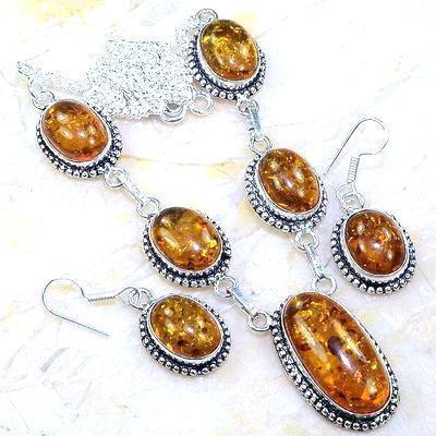 Amb 077a collier boucles oreilles parure ambre baltique baltic achat vente bijoux argent 925