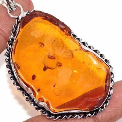Amb 082c pendentif pendant ambre miel 14gr 35x50mm baltique achat vente bijoux argent 925