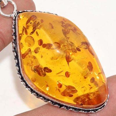 Amb 084c pendentif pendant ambre miel 18gr 30x50mm baltique achat vente bijoux argent 925