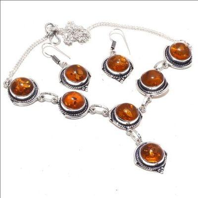 Amb 088a collier boucles oreilles 26gr 12mm parure ambre baltique achat vente bijoux argent 925