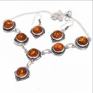 Amb 088d collier boucles oreilles 26gr 12mm parure ambre baltique achat vente bijoux argent 925