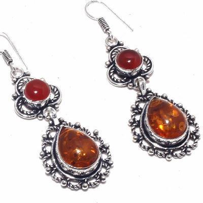 Amb 089c boucles pendants oreilles ambre amber cornalinee achat vente bijoux argent 925
