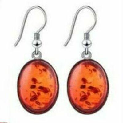 Amb 091a boucles oreilles pendants ambre baltique miel 12x15mm argent