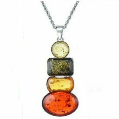 Amb 092a pendentif pendants 60mm ambre 4xbaltique miel chaine 12x15mm argent