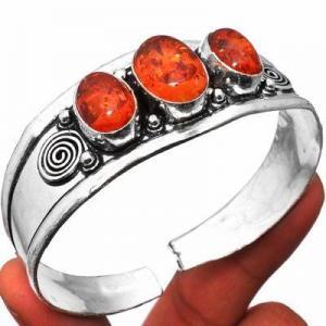 Amb 093a bracelet torque 23gr 3xcabochons ambre baltique miel ovale 10x15mm argent 925