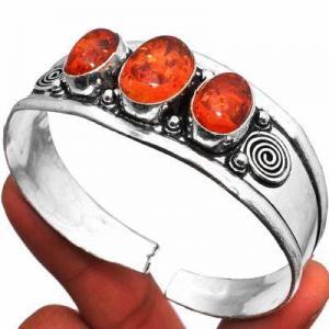 Amb 093d bracelet torque 23gr 3xcabochons ambre baltique miel ovale 10x15mm argent 925