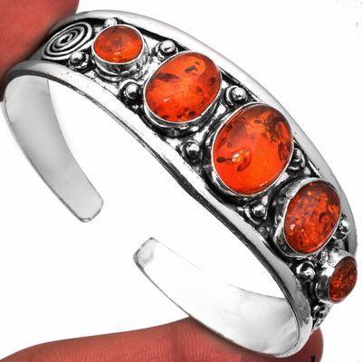 Amb 094a bracelet torque 29gr 5xcabochons ambre baltique miel ovale 10x15mm argent 925