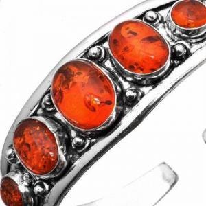 Amb 094b bracelet torque 29gr 5xcabochons ambre baltique miel ovale 10x15mm argent 925