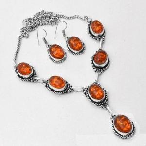 Amb 097a collier boucles oreilles pendants 33gr ambre baltique miel 10x15mm argent 925