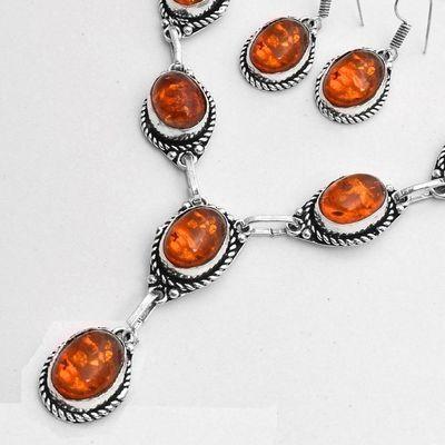 Amb 097b collier boucles oreilles pendants 33gr ambre baltique miel 10x15mm argent 925