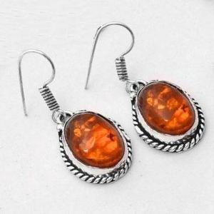 Amb 097c collier boucles oreilles pendants 33gr ambre baltique miel 10x15mm argent 925