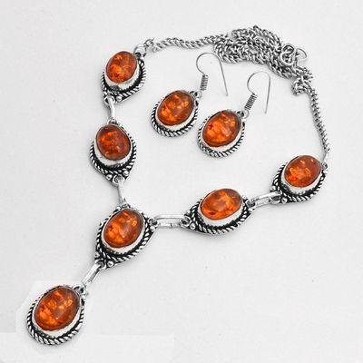 Amb 097e collier boucles oreilles pendants 33gr ambre baltique miel 10x15mm argent 925