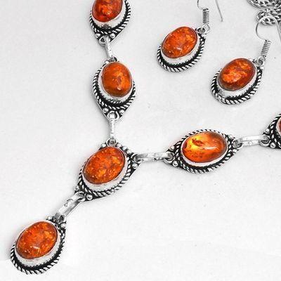 Amb 099b collier boucles oreilles pendants 33gr ambre baltique miel 10x15mm argent 926