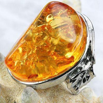 Amb 105b bague t6 cabochon 25x35mm ambre amber baltique vente bijoux argent 925